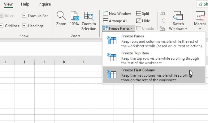 How to Freeze Pane First Column in Excel